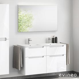 Evineo ineo5 Doppelwaschtisch mit Waschtischunterschrank mit Griffmulde, mit LED-Spiegel Front weiß hochglanz/verspiegelt / Korpus weiß hochglanz
