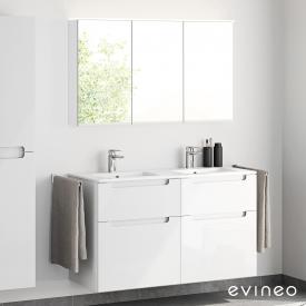 Evineo ineo5 Doppelwaschtisch mit Waschtischunterschrank mit Griffmulde und LED-Spiegelschrank Front weiß hochglanz/verspiegelt / Korpus weiß hochglanz/verspiegelt, weiß