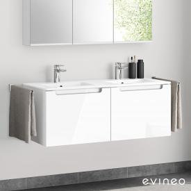 Evineo ineo5 Doppelwaschtisch mit Waschtischunterschrank mit 2 Auszügen, mit Griffmulde Front weiß hochglanz / Korpus weiß hochglanz
