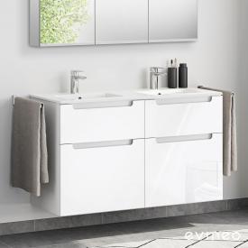 Evineo ineo5 Doppelwaschtisch mit Waschtischunterschrank mit 4 Auszügen, mit Griffmulde Front weiß hochglanz / Korpus weiß hochglanz