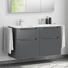 Evineo ineo5 Doppelwaschtisch mit Waschtischunterschrank mit 4 Auszügen, mit Griffmulde Front anthrazit matt / Korpus anthrazit matt, weiß