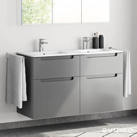 Evineo ineo5 Doppelwaschtisch mit Waschtischunterschrank mit 4 Auszügen und mit Griffmulde Front anthrazit matt / Korpus anthrazit matt, weiß