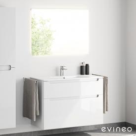 Evineo ineo5 Waschtisch mit Waschtischunterschrank mit Griffmulde und LED-Spiegel Front weiß hochglanz/verspiegelt / Korpus weiß hochglanz, weiß