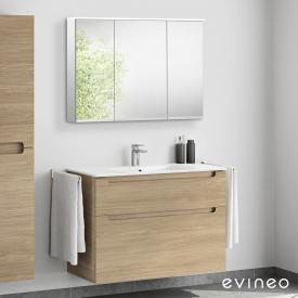 Evineo ineo5 Waschtisch mit Waschtischunterschrank mit Griffmulde und LED-Spiegelschrank Front eiche/verspiegelt / Korpus eiche/verspiegelt, weiß