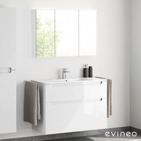 Evineo ineo5 Waschtisch mit Waschtischunterschrank mit Griffmulde und LED-Spiegelschrank Front weiß hochglanz/verspiegelt / Korpus weiß hochglanz/verspiegelt, weiß