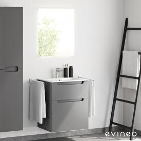 Evineo ineo5 Waschtisch mit Waschtischunterschrank mit Griffmulde und LED-Spiegel Front anthrazit matt/verspiegelt / Korpus anthrazit matt, weiß