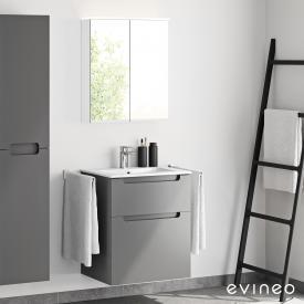 Evineo ineo5 Waschtisch mit Waschtischunterschrank mit Griffmulde und LED-Spiegelschrank Front anthrazit matt/verspiegelt / Korpus anthrazit matt/verspiegelt, weiß