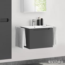 Evineo ineo5 Waschtisch mit Waschtischunterschrank mit 1 Auszug, mit Griffmulde Front anthrazit matt / Korpus anthrazit matt