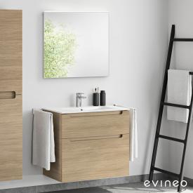 Evineo ineo5 Waschtisch mit Waschtischunterschrank mit Griffmulde, mit LED-Spiegel Front eiche/verspiegelt / Korpus eiche