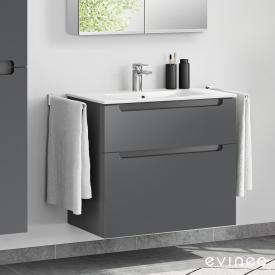 Evineo ineo5 Waschtisch mit Waschtischunterschrank mit 2 Auszügen, mit Griffmulde Front anthrazit matt / Korpus anthrazit matt, weiß