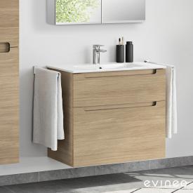 Evineo ineo5 Waschtisch mit Waschtischunterschrank mit 2 Auszügen, mit Griffmulde Front eiche / Korpus eiche, weiß