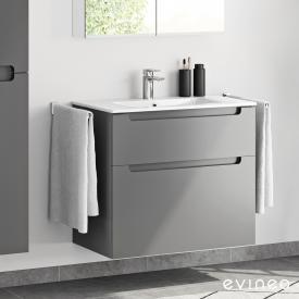 Evineo ineo5 Waschtisch mit Waschtischunterschrank mit 2 Auszügen und mit Griffmulde Front anthrazit matt / Korpus anthrazit matt, weiß