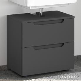 Evineo ineo5 Waschtischunterschrank ohne Waschtischanbindung mit 2 Auszügen, mit Griffmulde Front anthrazit matt / Korpus anthrazit matt