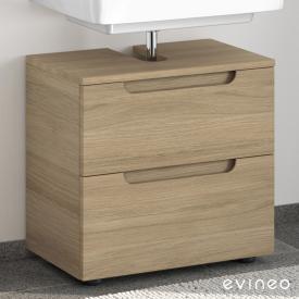 Evineo ineo5 Waschtischunterschrank ohne Waschtischanbindung mit 2 Auszügen, mit Griffmulde Front eiche / Korpus eiche