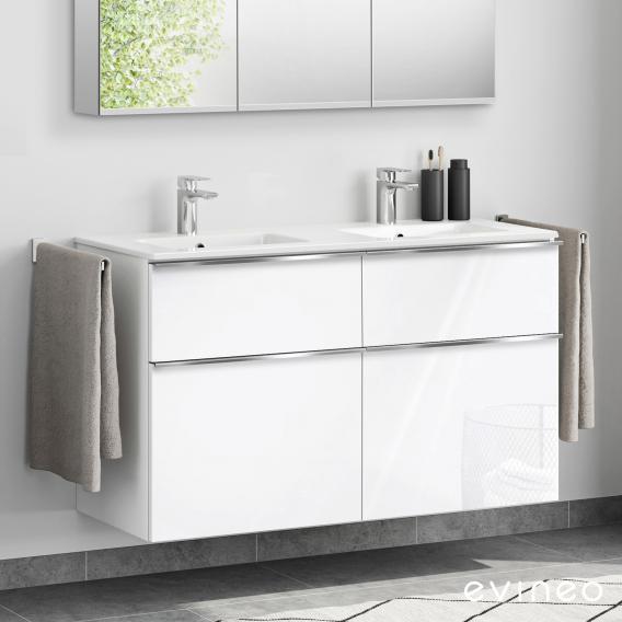 Evineo ineo4 Doppelwaschtisch mit Waschtischunterschrank mit 4 Auszügen, mit Griff Front weiß hochglanz / Korpus weiß hochglanz