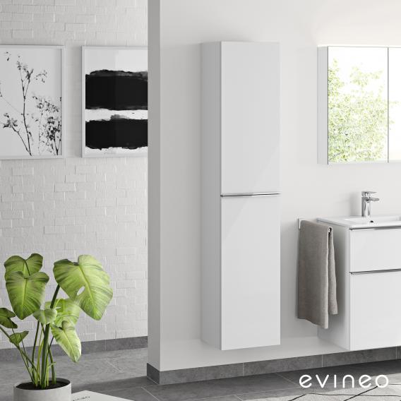 Evineo ineo4 Hochschrank mit 2 Türen und Griff Front weiß hochglanz / Korpus weiß hochglanz