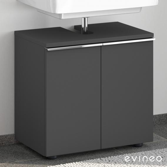 Evineo ineo4 Waschtischunterschrank ohne Waschtischanbindung mit 2 Türen, mit Griff Front anthrazit matt / Korpus anthrazit matt