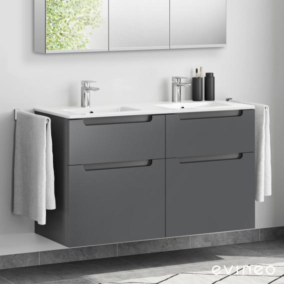 Evineo ineo5 Doppelwaschtisch mit Waschtischunterschrank mit 4 Auszügen, mit Griffmulde Front anthrazit matt / Korpus anthrazit matt