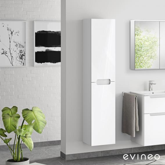 Evineo ineo5 Hochschrank mit 2 Türen, mit Griffmulde Front weiß hochglanz / Korpus weiß hochglanz