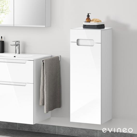 Evineo ineo5 Seitenschrank mit 1 Schublade, 1 Tür, mit Griffmulde Front weiß hochglanz / Korpus weiß hochglanz