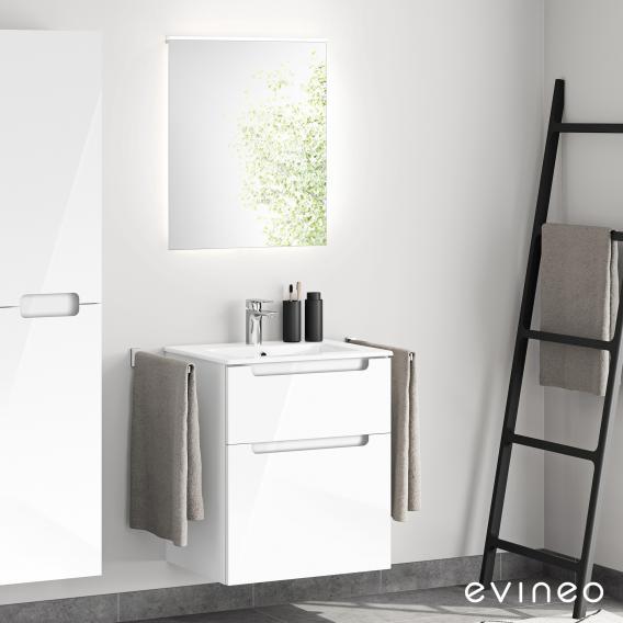 Evineo ineo5 Waschtisch mit Waschtischunterschrank mit Griffmulde, mit LED-Spiegel Front weiß hochglanz/verspiegelt / Korpus weiß hochglanz