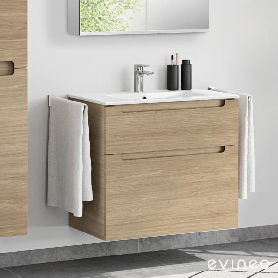 Evineo ineo5 Waschtisch mit Waschtischunterschrank mit 2 Auszügen, mit Griffmulde Front eiche / Korpus eiche