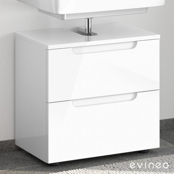 Evineo ineo5 Waschtischunterschrank ohne Waschtischanbindung mit 2 Auszügen, mit Griffmulde Front weiß hochglanz / Korpus weiß hochglanz