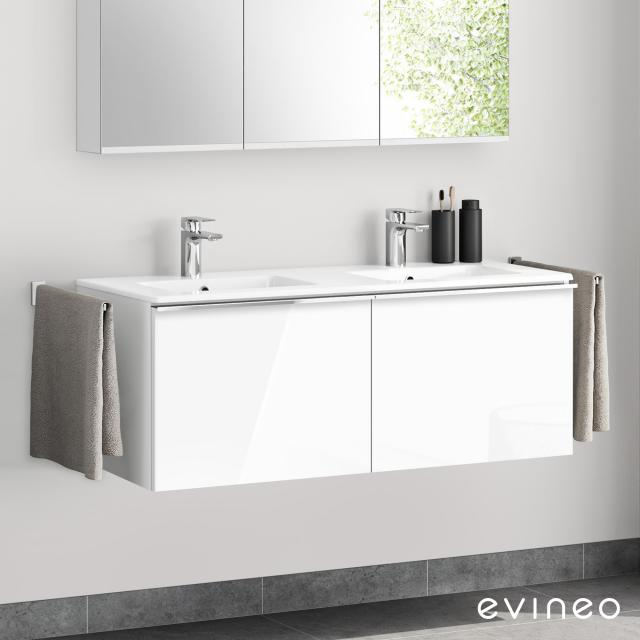 Evineo ineo4 Doppelwaschtisch mit Waschtischunterschrank mit 2 Auszügen, mit Griff Front weiß hochglanz / Korpus weiß hochglanz