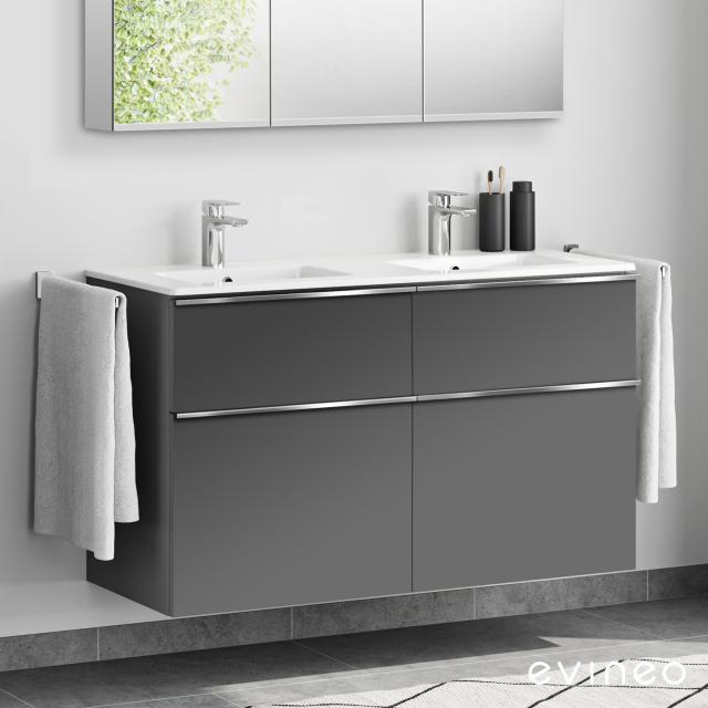 Evineo ineo4 Doppelwaschtisch mit Waschtischunterschrank mit 4 Auszügen, mit Griff Front anthrazit matt / Korpus anthrazit matt