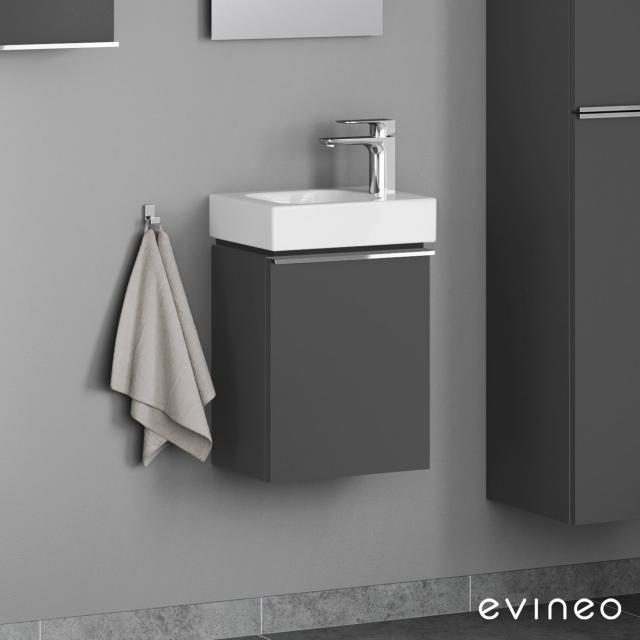 Evineo ineo4 Handwaschbeckenunterschrank mit 1 Tür, mit Griff Front anthrazit matt / Korpus anthrazit matt