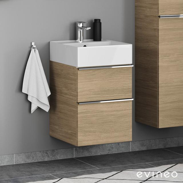 Evineo ineo4 Handwaschbeckenunterschrank mit 2 Auszügen, mit Griff Front eiche / Korpus eiche