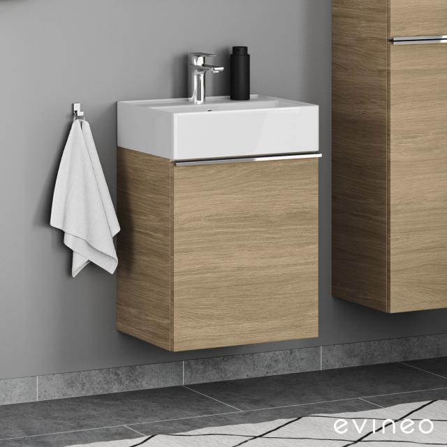 Evineo ineo4 Handwaschbeckenunterschrank mit 1 Tür, mit Griff Front eiche / Korpus eiche
