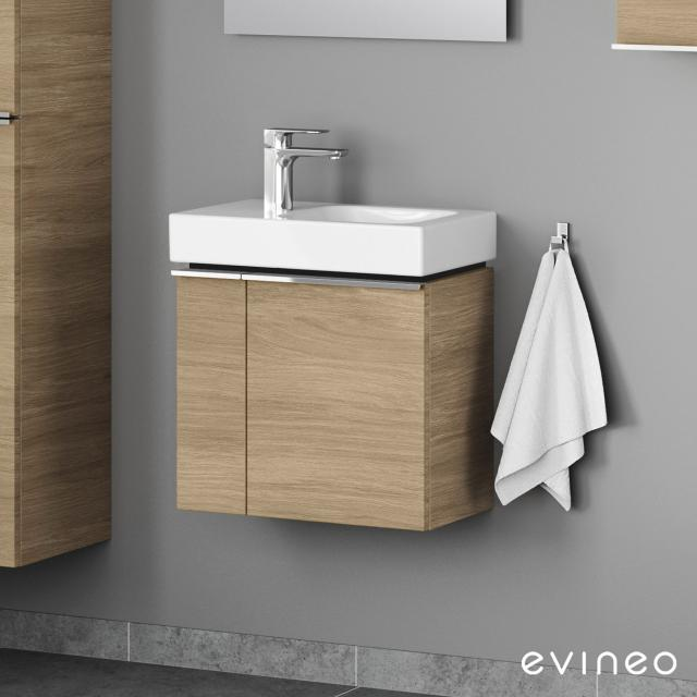 Evineo ineo4 Handwaschbeckenunterschrank mit 2 Türen, mit Griff Front eiche / Korpus eiche