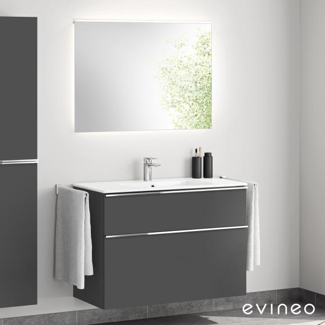 Evineo ineo4 Waschtisch mit Waschtischunterschrank mit Griff, mit LED-Spiegel Front anthrazit matt/verspiegelt / Korpus anthrazit matt