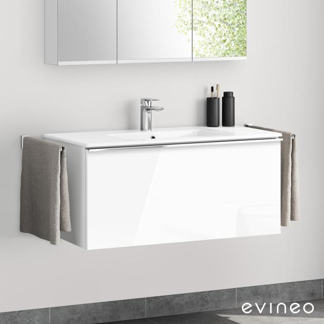 Evineo ineo4 Waschtisch mit Waschtischunterschrank mit 1 Auszug, mit Griff Front weiß hochglanz / Korpus weiß hochglanz