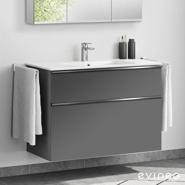 Evineo ineo4 Waschtisch mit Waschtischunterschrank mit 2 Auszügen, mit Griff Front anthrazit matt / Korpus anthrazit matt
