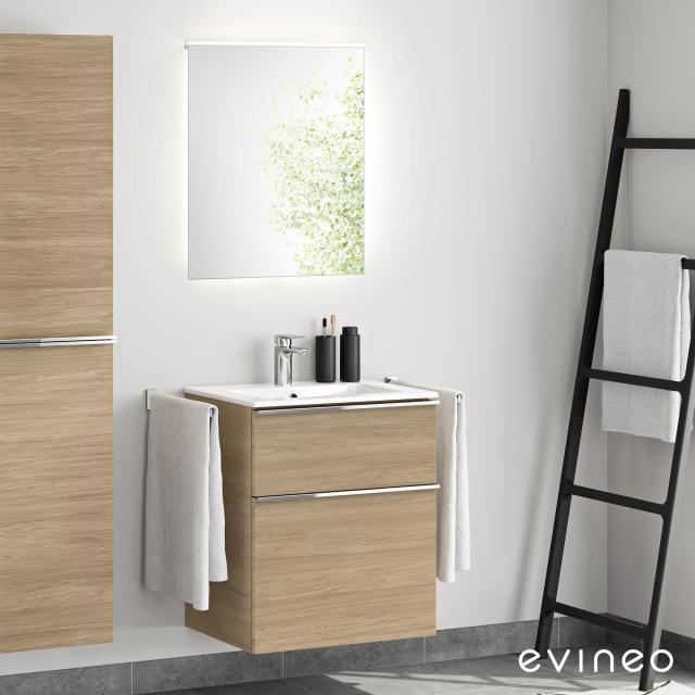 Evineo ineo4 Waschtisch mit Waschtischunterschrank mit Griff, mit LED-Spiegel Front eiche/verspiegelt / Korpus eiche