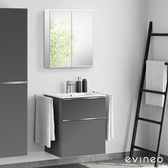 Evineo ineo4 Waschtisch mit Waschtischunterschrank mit Griff, mit LED-Spiegelschrank Front anthrazit matt/verspiegelt / Korpus anthrazit matt/verspiegelt