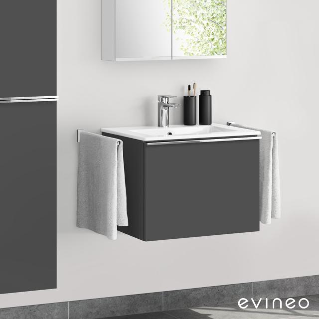 Evineo ineo4 Waschtisch mit Waschtischunterschrank mit 1 Auszug, mit Griff Front anthrazit matt / Korpus anthrazit matt
