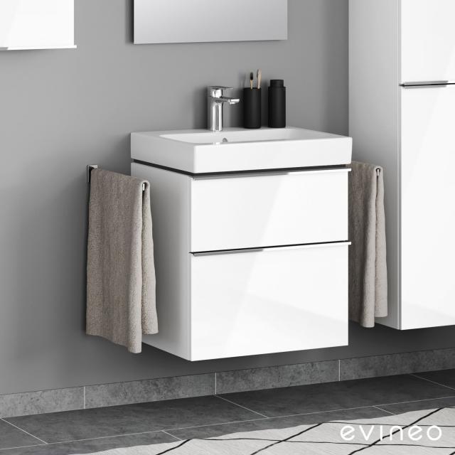 Evineo ineo4 Waschtischunterschrank mit 2 Auszügen, mit Griff Front weiß hochglanz / Korpus weiß hochglanz