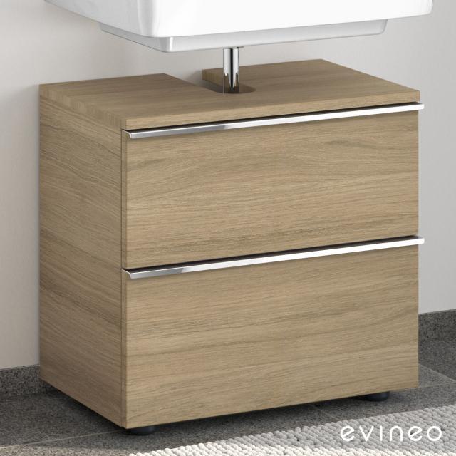 Evineo ineo4 Waschtischunterschrank ohne Waschtischanbindung mit 2 Auszügen, mit Griff Front eiche / Korpus eiche