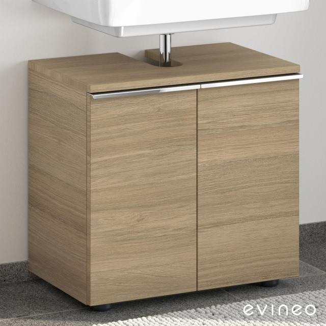 Evineo ineo4 Waschtischunterschrank ohne Waschtischanbindung mit 2 Türen, mit Griff Front eiche / Korpus eiche