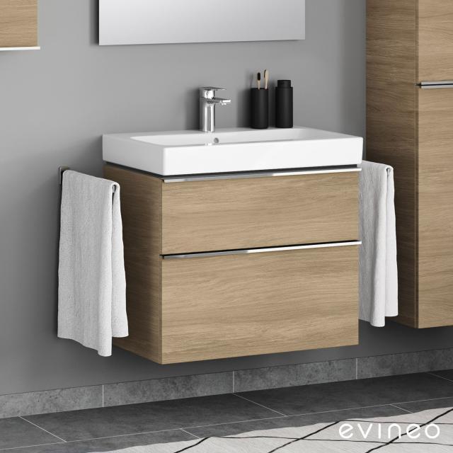 Evineo ineo4 Waschtischunterschrank mit 2 Auszügen, mit Griff Front eiche / Korpus eiche