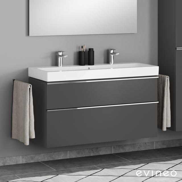 Evineo ineo4 Waschtischunterschrank für Doppelwaschtisch mit 2 Auszügen, mit Griff Front anthrazit matt / Korpus anthrazit matt