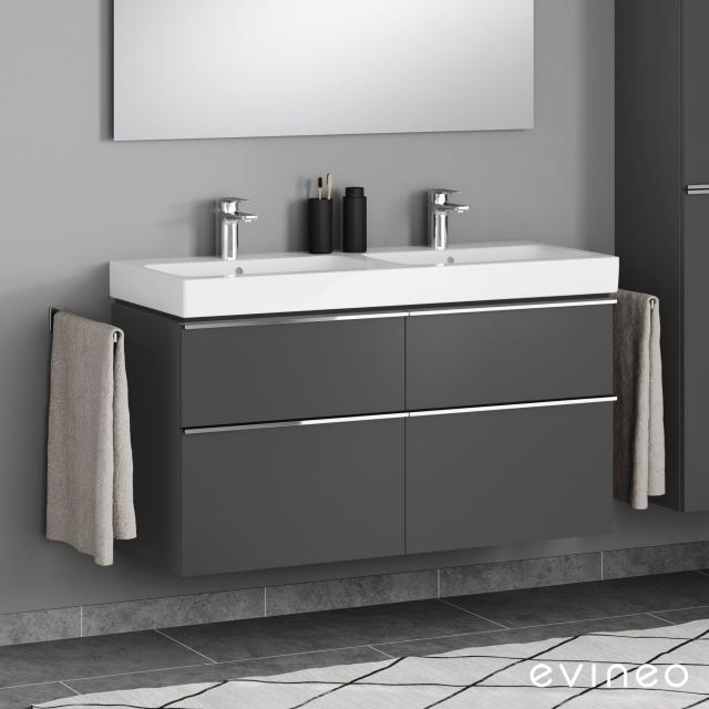 Evineo ineo4 Waschtischunterschrank für Doppelwaschtisch mit 4 Auszügen, mit Griff Front anthrazit matt / Korpus anthrazit matt