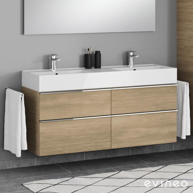 Evineo ineo4 Waschtischunterschrank für Doppelwaschtisch mit 4 Auszügen, mit Griff Front eiche / Korpus eiche