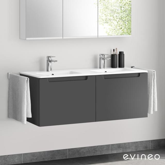 Evineo ineo5 Doppelwaschtisch mit Waschtischunterschrank mit 2 Auszügen, mit Griffmulde Front anthrazit matt / Korpus anthrazit matt