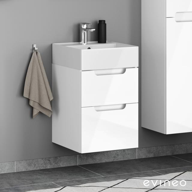 Evineo ineo5 Handwaschbeckenunterschrank mit 2 Auszügen, mit Griffmulde Front weiß hochglanz / Korpus weiß hochglanz