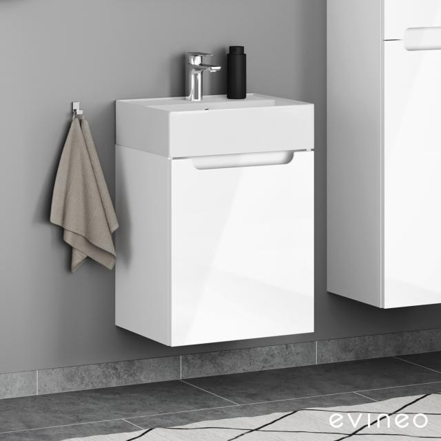 Evineo ineo5 Handwaschbeckenunterschrank mit 1 Tür, mit Griffmulde Front weiß hochglanz / Korpus weiß hochglanz