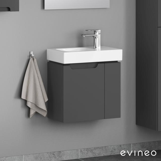 Evineo ineo5 Handwaschbeckenunterschrank mit 2 Türen, mit Griffmulde Front anthrazit matt / Korpus anthrazit matt